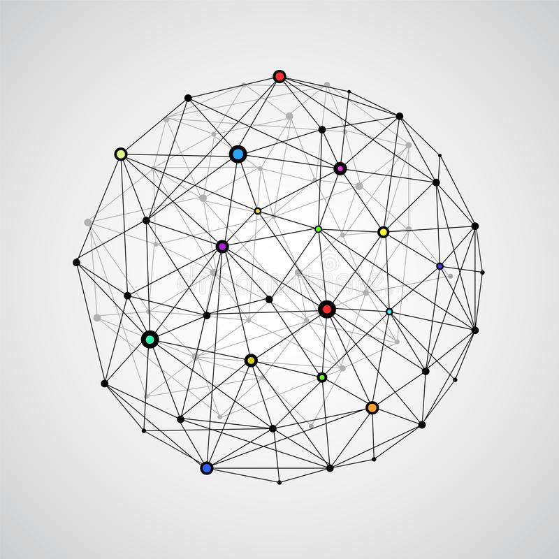 Vector wireframe connecting earth sphere. Globe connection concept. Globe structure connect, illustration of globe network stock illustration