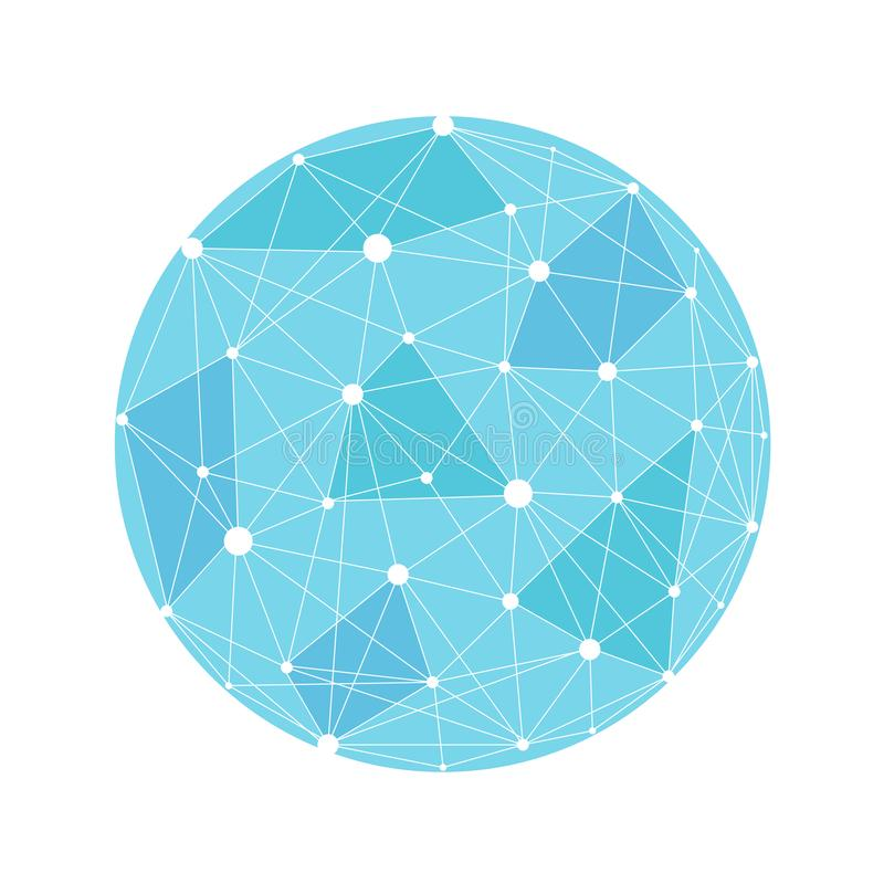Vector wireframe connecting earth sphere. Globe connection concept. Globe structure connect, illustration of globe network royalty free illustration