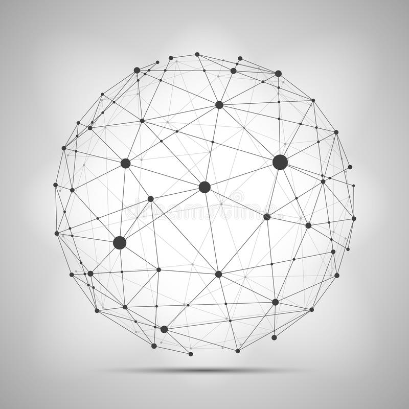 Vector wireframe connecting earth sphere. Globe connection concept. stock illustration