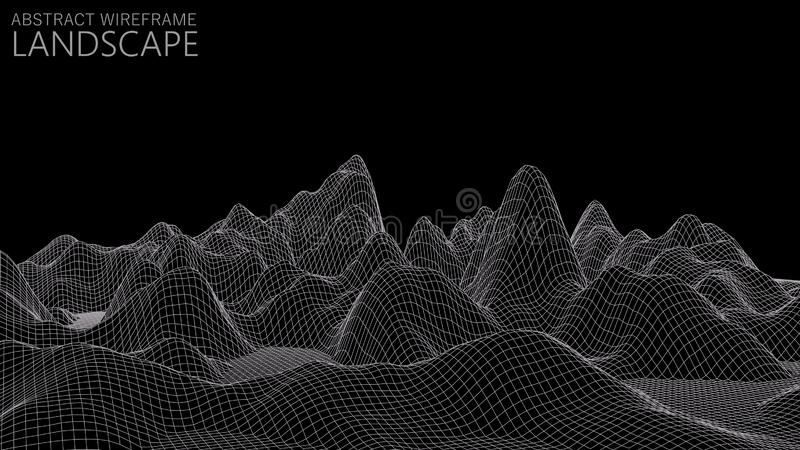 Vector wireframe 3d landscape. Technology grid illustration. Abstract futuristic background. Vector wireframe 3d landscape. Technology grid illustration royalty free illustration
