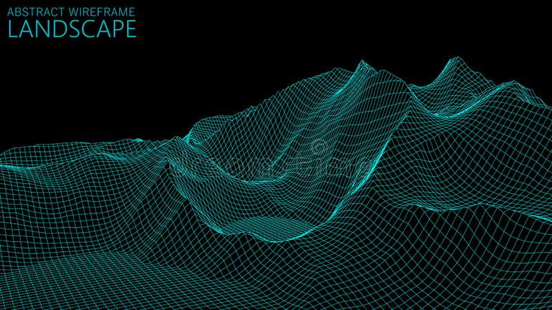 Vector wireframe 3d landscape. Technology grid illustration. Abstract futuristic background. Mountains. Vector wireframe 3d landscape. Technology grid vector illustration
