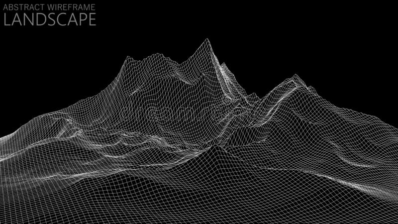 Vector wireframe 3d landscape. Technology grid illustration. Abstract futuristic background. Mountains. Vector wireframe 3d landscape. Technology grid stock illustration