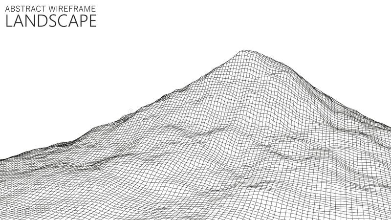 Vector wireframe 3d landscape. Technology grid illustration. Abstract futuristic background. Mountains. Vector wireframe 3d landscape. Technology grid royalty free illustration
