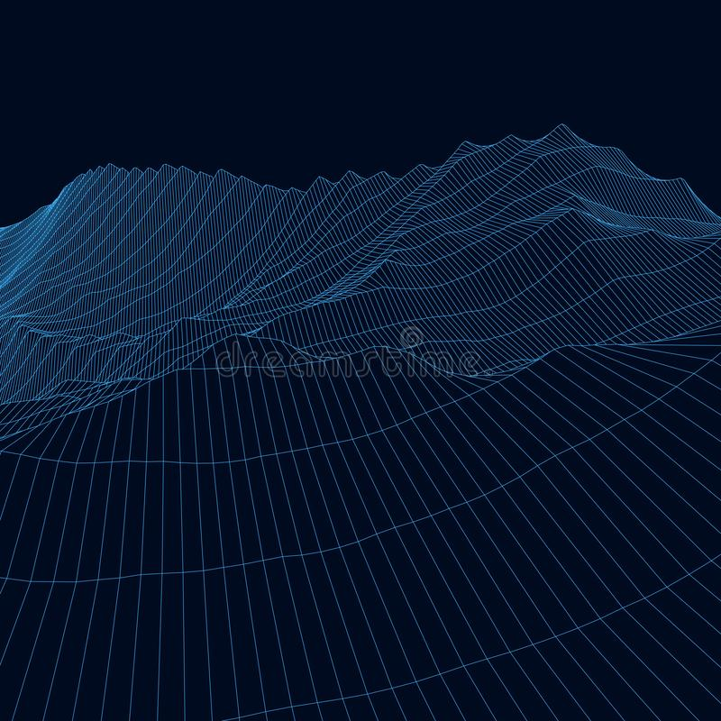 Vector wireframe 3d landscape. Technology grid illustration. Network of connected dots and lines on black background. Vector wireframe 3d landscape. Technology vector illustration