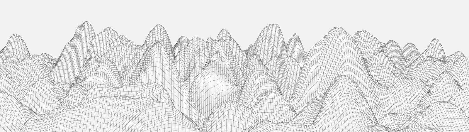Vector wireframe 3d landscape. Technology grid illustration. Network of connected dots and lines on white background. Vector wireframe 3d landscape. Technology royalty free illustration
