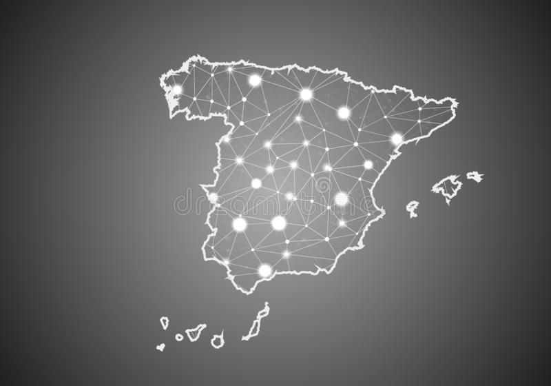 Vector wireframe mesh polygonal of spain map. Abstract global connection structure. Map connected with lines and dots. Geometric royalty free illustration