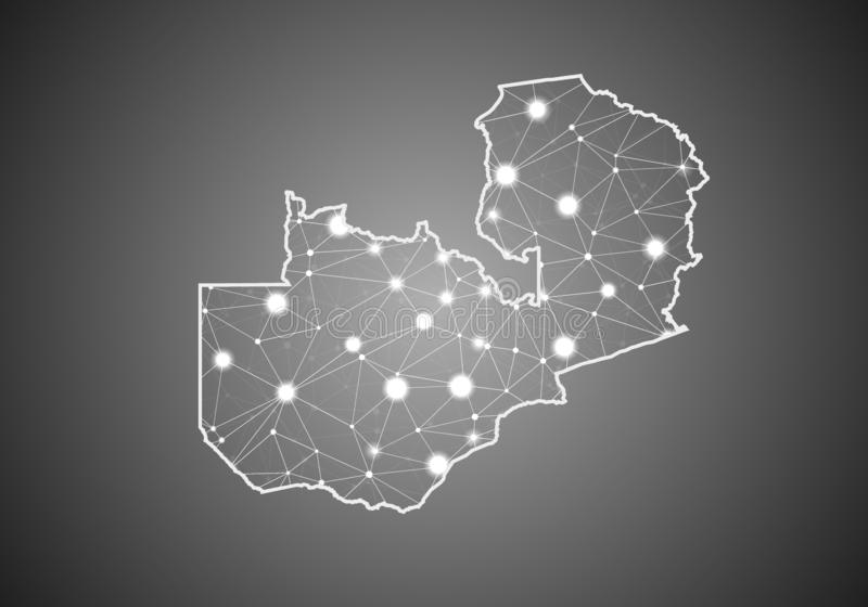 Vector wireframe mesh polygonal of zambia map. Abstract global connection structure. Map connected with lines and dots. Geometric stock illustration