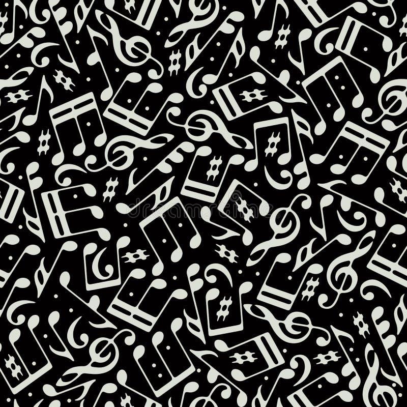 Vector wit muzieknoten en g-sleutels naadloos patroon  royalty-vrije illustratie