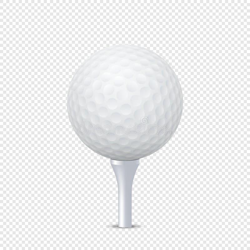 Vector wit realistisch golfbalmalplaatje op geïsoleerd T-stuk - Ontwerpmalplaatje in EPS10 royalty-vrije illustratie
