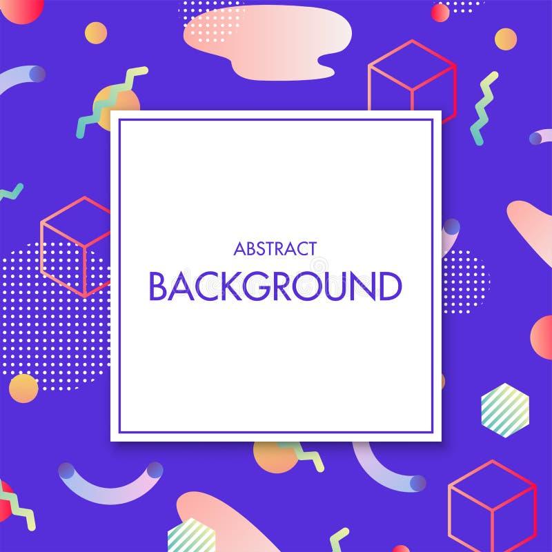 Vector wit vierkant met tekst op kleurrijke abstracte geometrische achtergrond stock illustratie