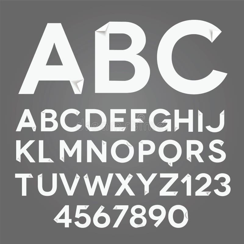 Vector Witboekalfabet met gevouwen hoeken N'art -n'art-ure royalty-vrije illustratie