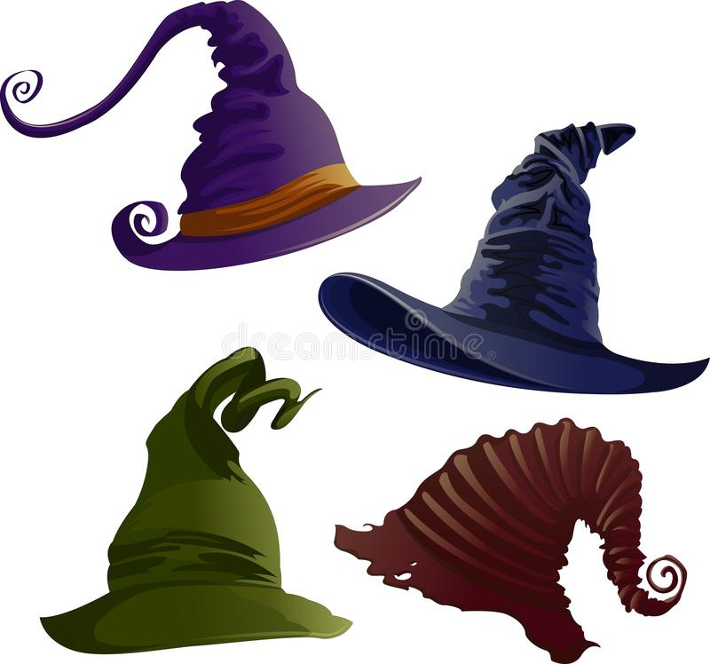 Vector witch hats in different colours isolated on white background. Set of Halloween realistic witch hats. Vector witch hats isolated on white background stock illustration