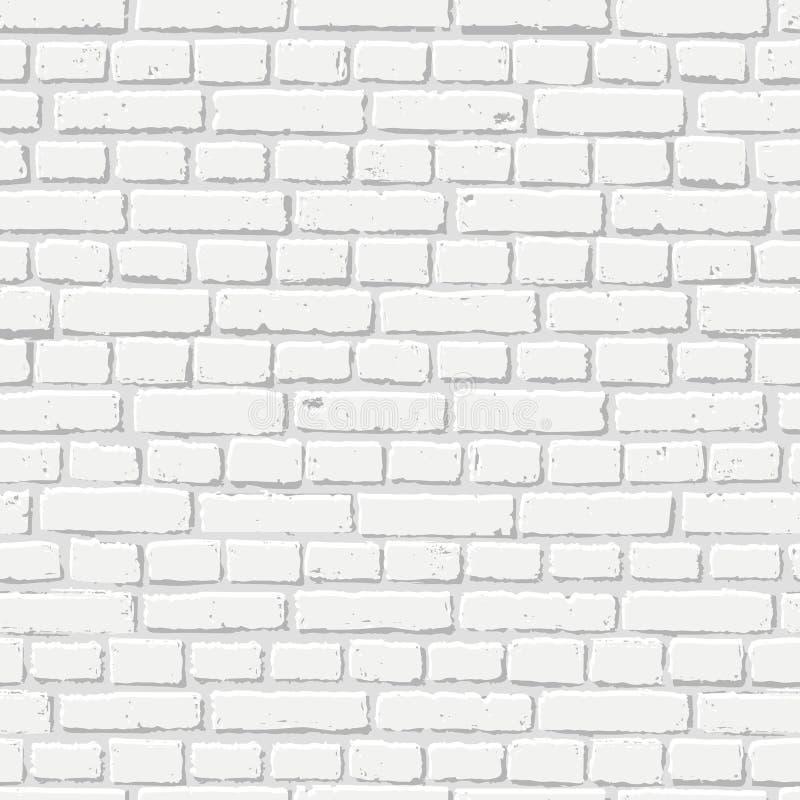 Vector witte bakstenen muur naadloze textuur Abstract architectuur en zolderbinnenland, achtergrond royalty-vrije illustratie