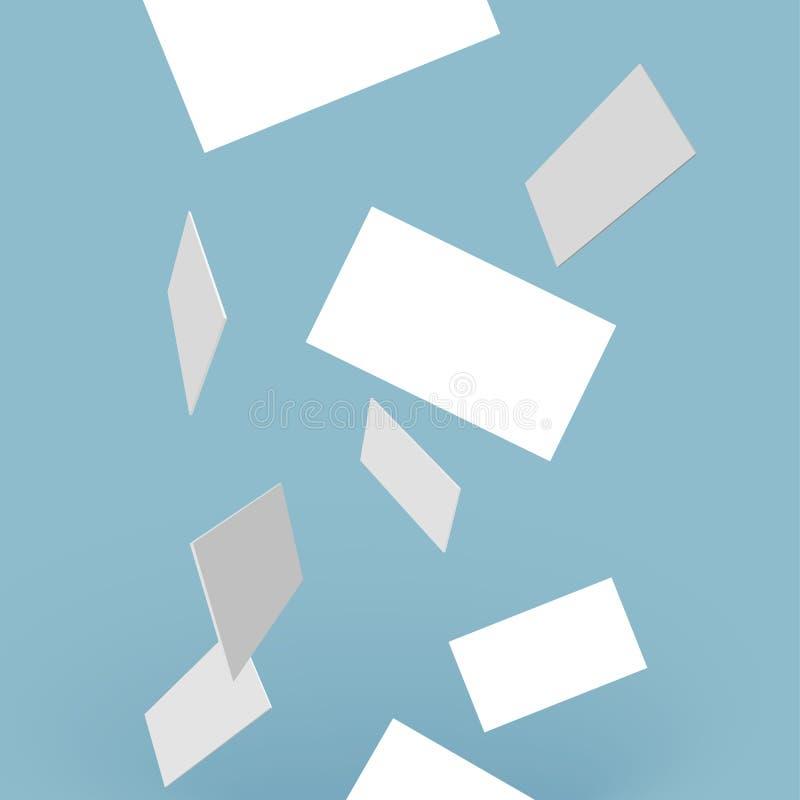Vector witte bezoekkaarten op transparante achtergrond die hierboven vallen van N'art -n'art-ure royalty-vrije illustratie
