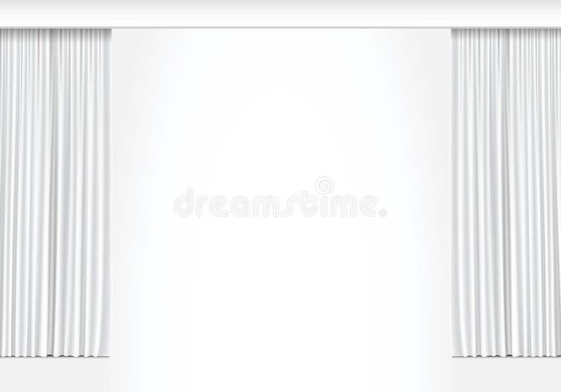 Vector Witte die Gordijnen op Witte Achtergrond worden geïsoleerd royalty-vrije illustratie
