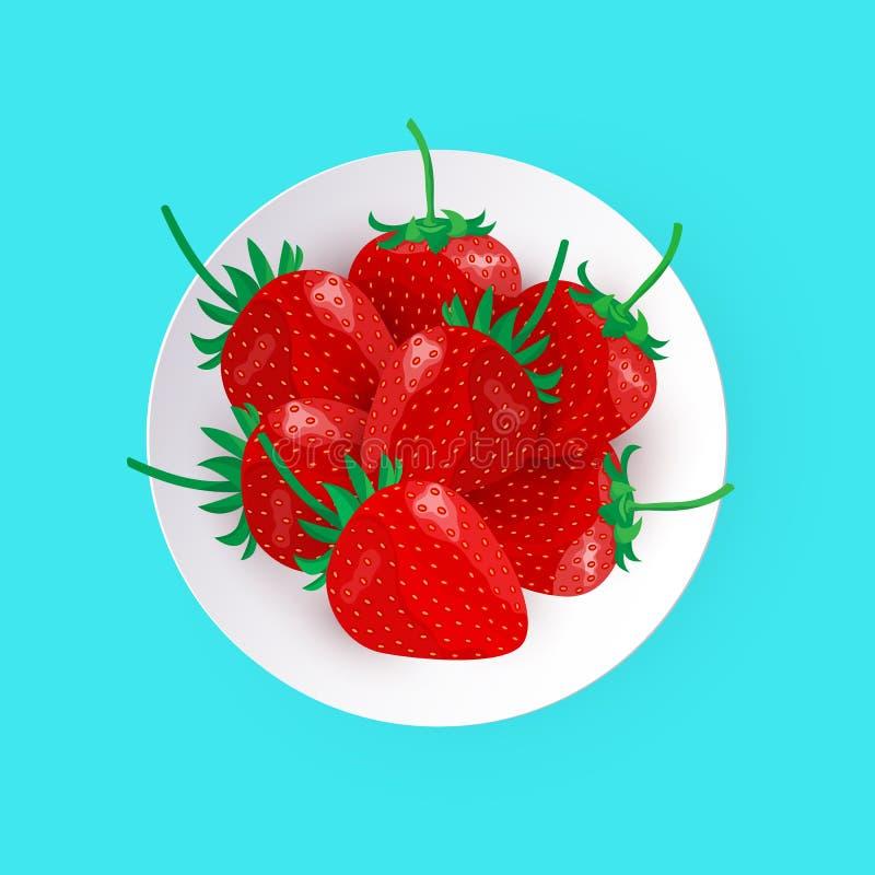 Vector witte plaat met verse rijpe aardbeien royalty-vrije illustratie