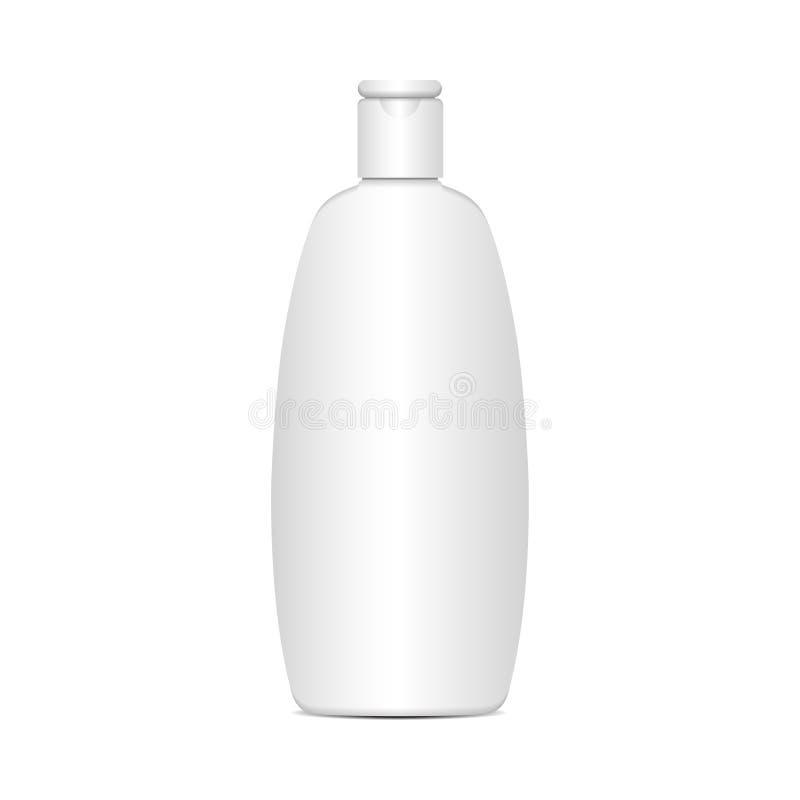Vector witte plastic fles voor shampoo, lotion, douchegel, lichaamsmelk, badschuim Realistisch modelmalplaatje vector illustratie