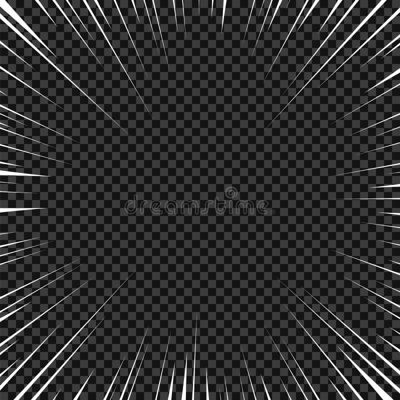 Vector witte radiale lijnen voor strippagina, superheroactie De snelheid van het Mangakader, motie, explosieachtergrond Geïsoleer royalty-vrije illustratie