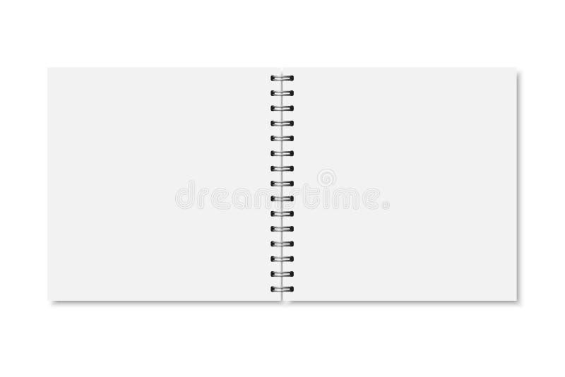 Vector witte realistische geopende notitieboekjedekking vector illustratie