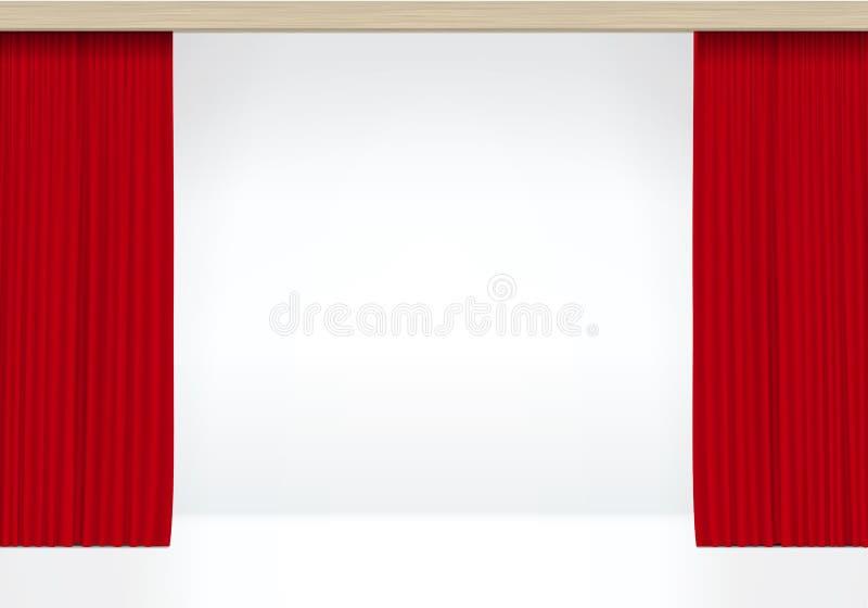 Vector Witte Scène met Geïsoleerde Rode Gordijnen stock illustratie