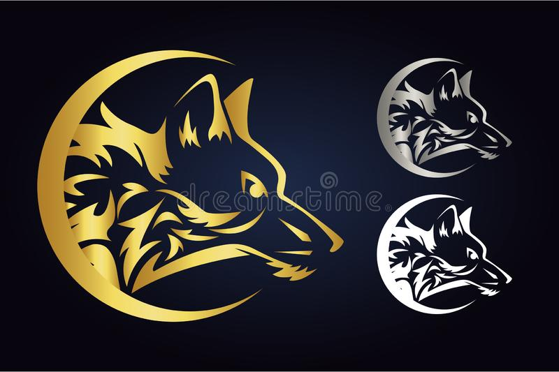 Wolf head silhouette inside half moon in gold, silver and white colors. Side view of wild animal in crescent. Wolf inside demilune. Vector wolf head silhouette vector illustration