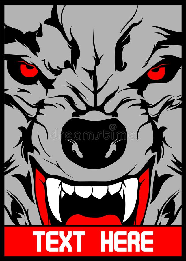 Vector wolf with pointed teeth hand drawing royalty free illustration