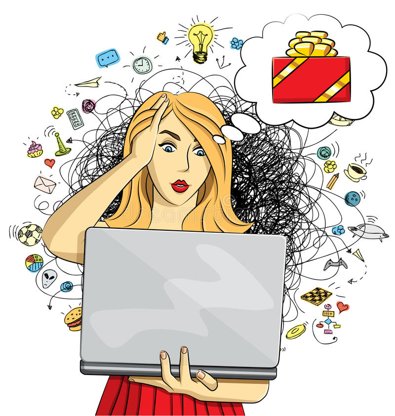 Vector woman buy Christmas gifts online vector illustration