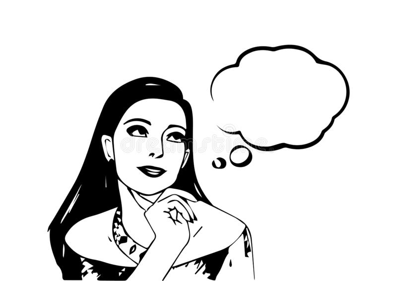 European young woman dream looking to the side. Vector. woman dream speech bubble. One person three quarter view. Looking up and dream royalty free illustration