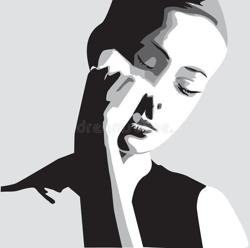 Vector woman face royalty free illustration