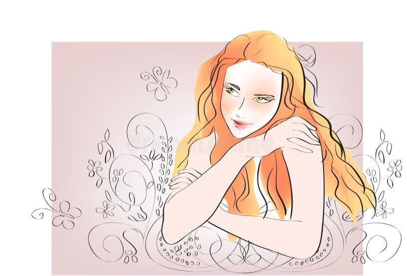 Vector woman face stock illustration