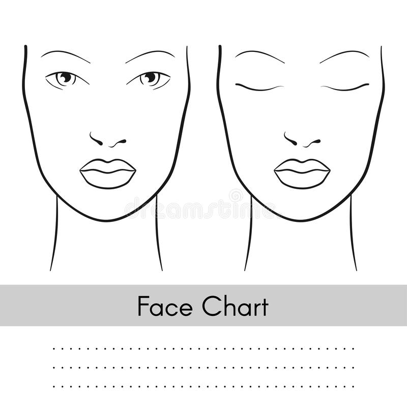 Vector woman face chart portrait. Female face with open and closed eyes. Blank template for artist makeup. stock illustration