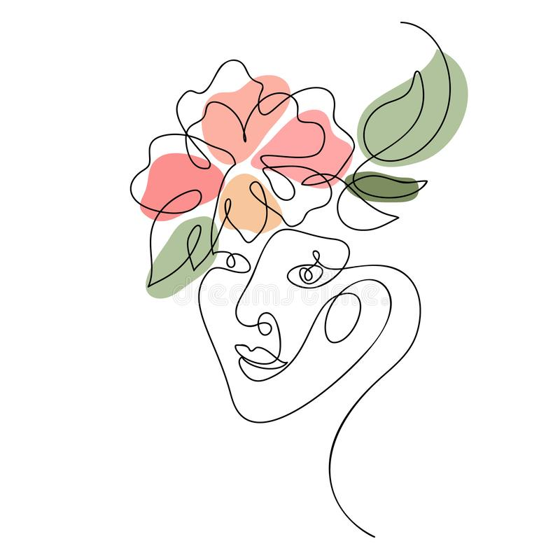 Vector woman face with flower one line drawing. Monoline portrait minimalistic style. Simple design illustration logo or royalty free illustration