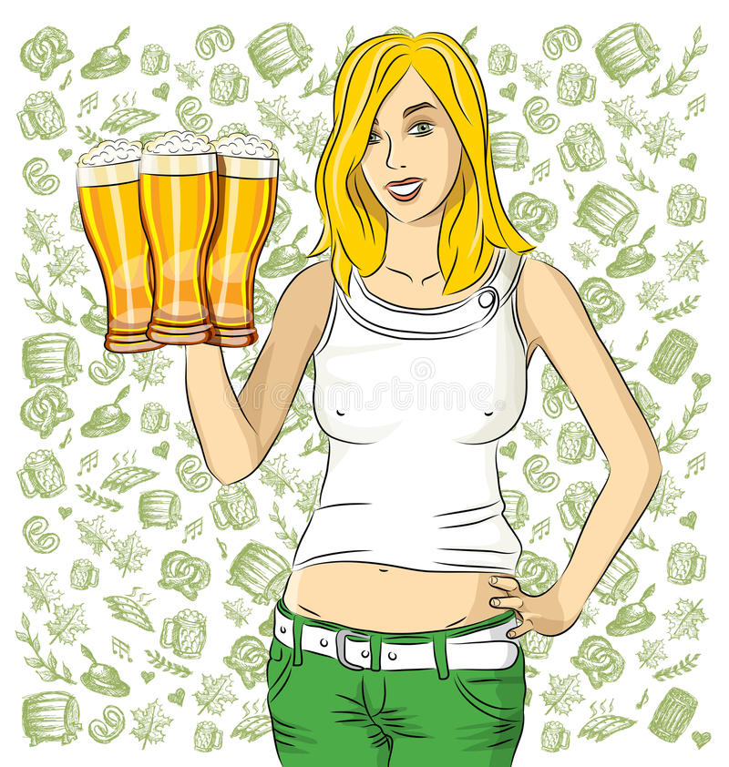 Vector Woman With Glass of Beer On Oktoberfest. Vector woman on oktoberfest. Octoberfest woman with beer royalty free illustration
