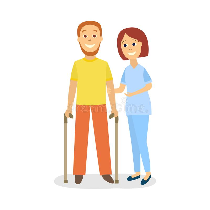 Vector woman helps patient, restriction of movement. Vector flat woman doctor physiotherapist helps man patient with restriction of movement to walk by means of stock illustration
