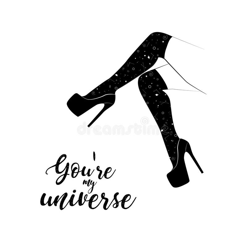 Vector woman legs in high heels with stiletto shoes. You are my universe poster. Line art modern black art. Fetish vector illustration