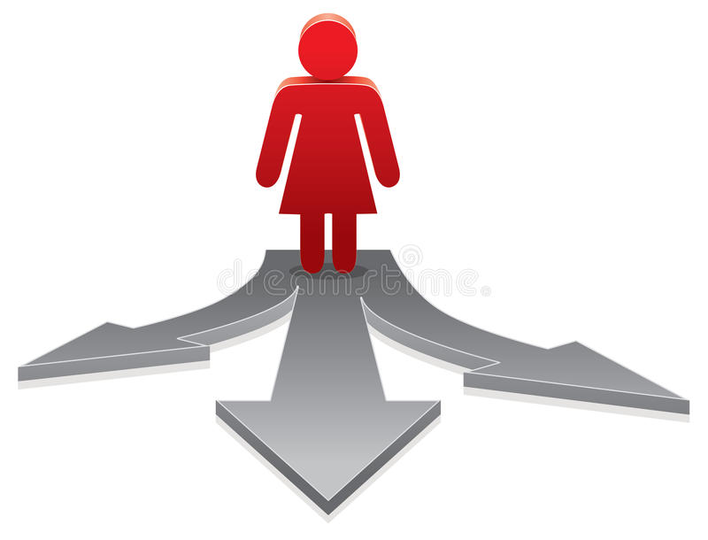 vector woman making a choice on crossroads stock illustration