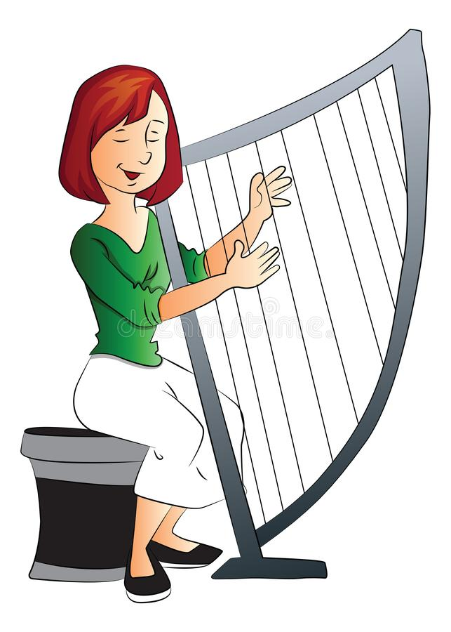 Vector of woman playing harp stock illustration
