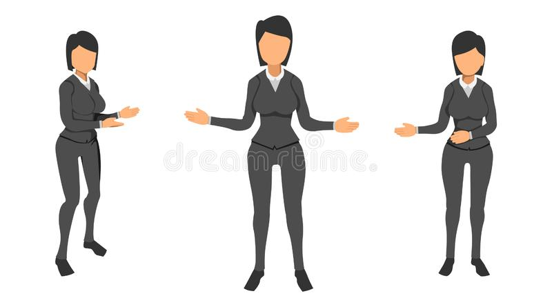 Vector woman presents something. the concept of a female sales model. Eps10 royalty free illustration