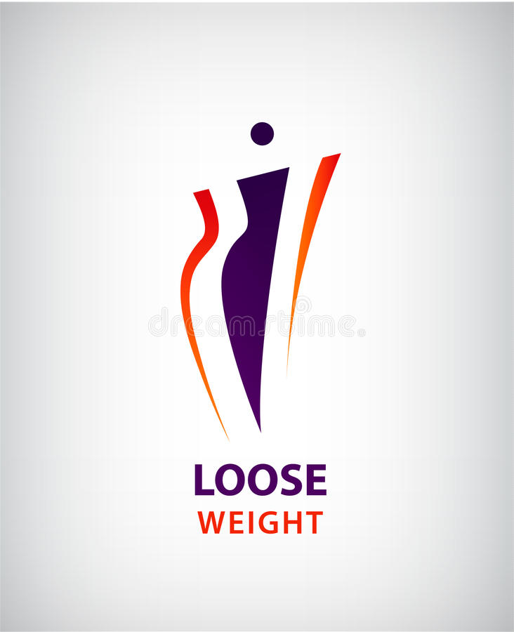 Vector woman shape, fat and slim, loose weight symbol and logo vector illustration