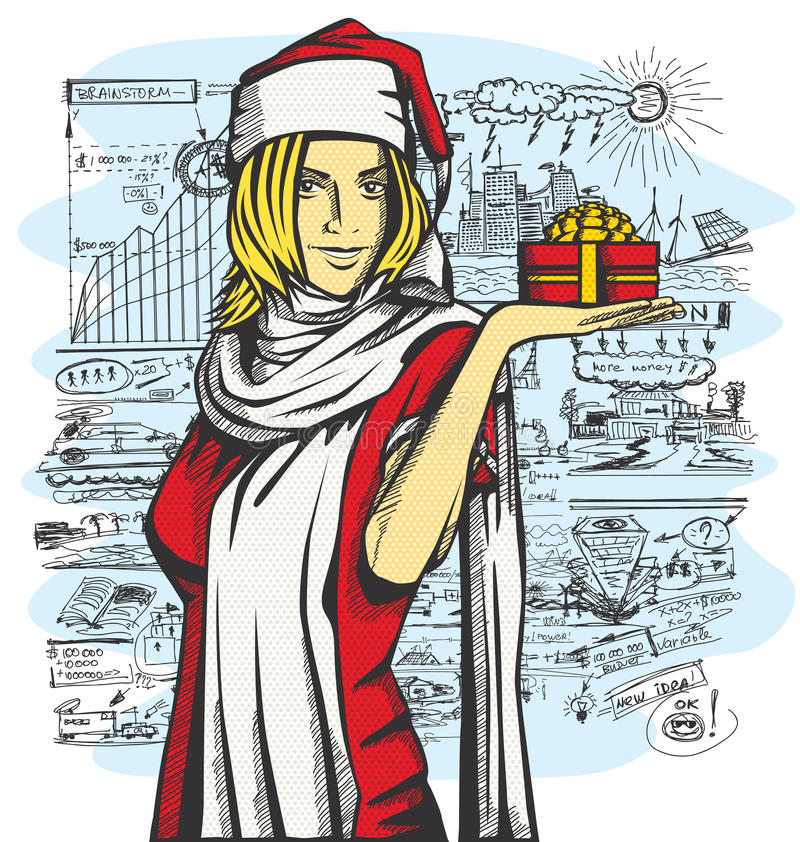 Vector Woman Waiting For Christmas vector illustration