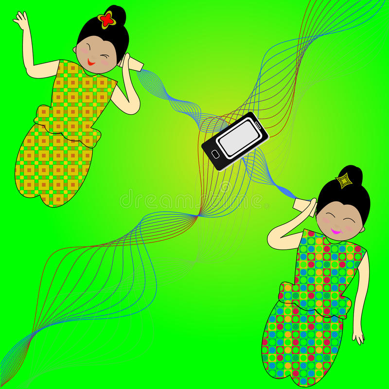 Vector - women communicating with tin cans vector illustration