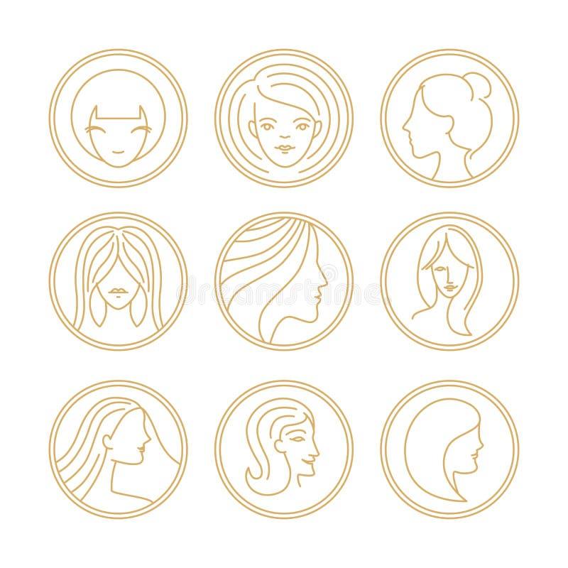 Vector women's logo design elements stock illustration