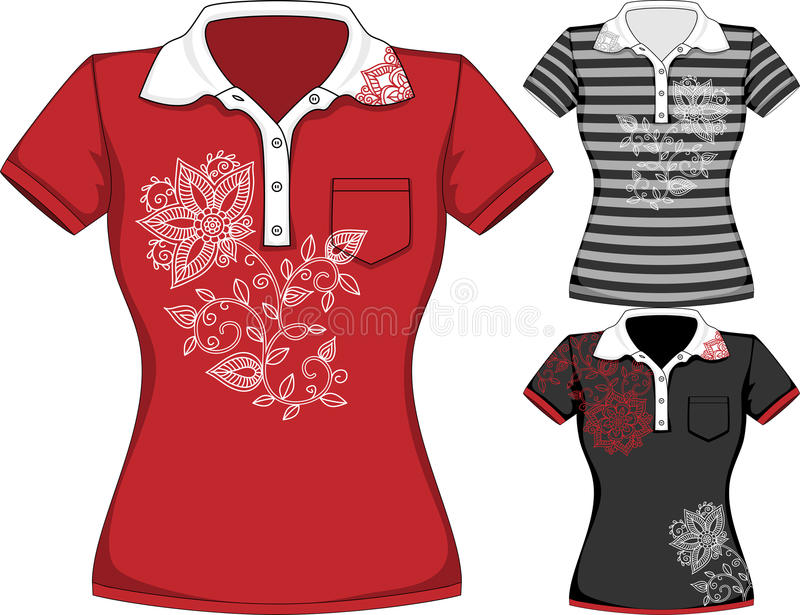Vector womens short sleeve t-shirt design royalty free stock photography