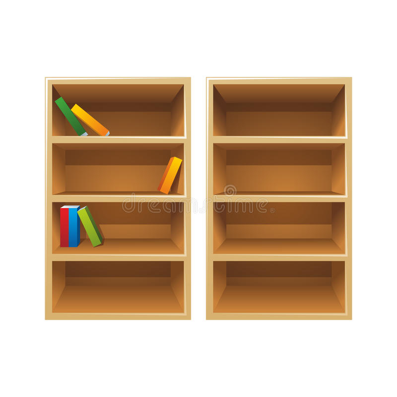 Download Vector wood bookshelves stock vector. Illustration of library - 23862764