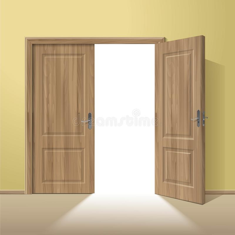 Vector Wood Open Door with Frame royalty free illustration