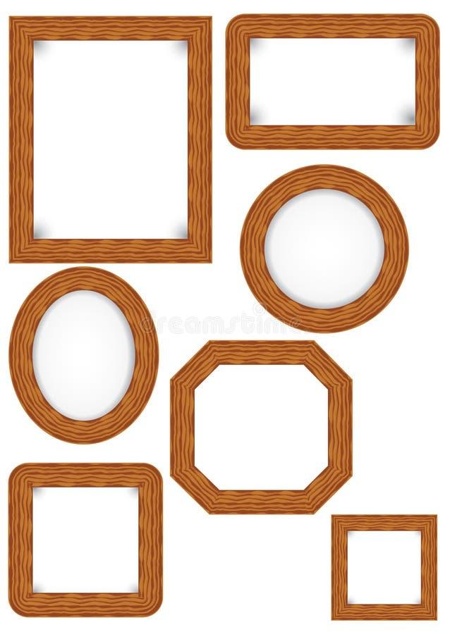 Vector wood photo frame stock illustration