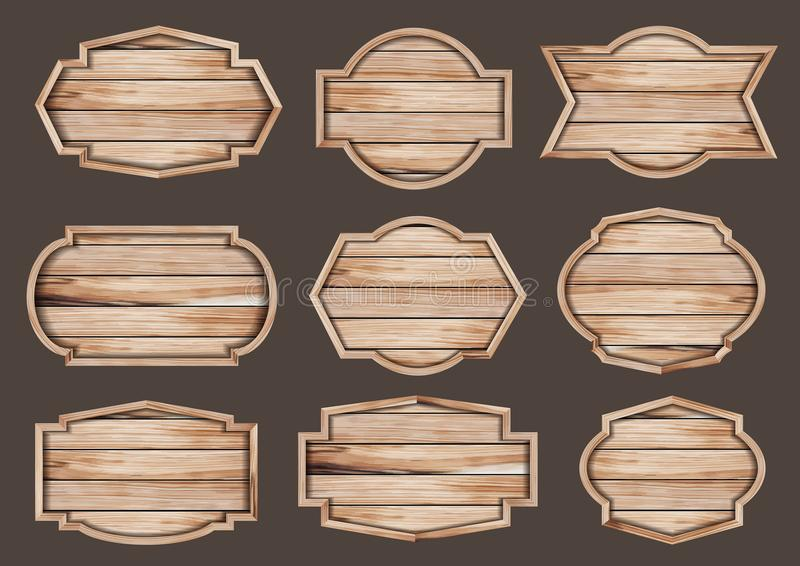 Vector wood sign realistic wooden signboard. Vector wood sign realistic illustration of wooden signboard royalty free illustration
