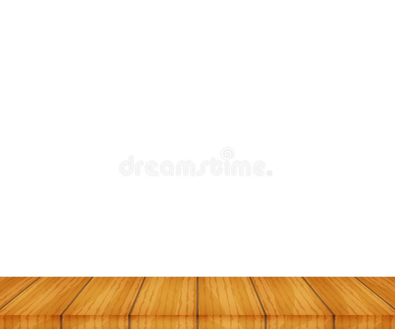 Vector wood table top on white background. Stock illustration stock illustration