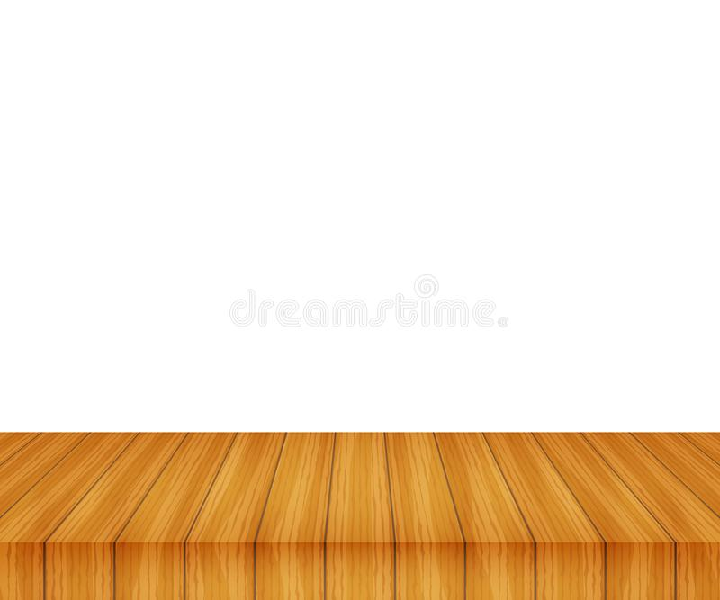 Vector wood table top on white background. Stock illustration royalty free illustration