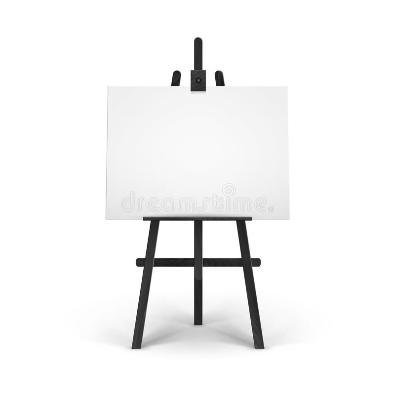 Vector Wooden Black Easel with Mock Up Empty Blank Horizontal Canvas on Background stock illustration